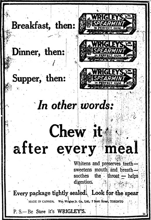 an analysis of a print advertisement by wrigleys Wrigley's doublemint followed about a decade later in 1914  in newspaper print ads and on billboards as early as 1910 and advertising continues to  analysis of the nonchocolate confectionary industry (reference for business, 2005.